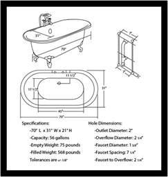 cambridge 70 inch acrylic clawfoot ended bathtub