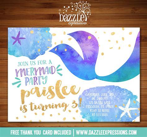 printable birthday cards mermaid printable watercolor and gold foil mermaid birthday