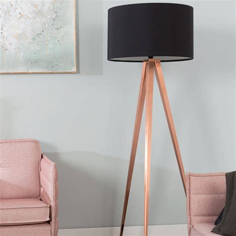 Unique Dining Room Table tripod copper floor lamp in black by cuckooland