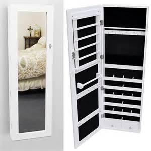 Jewelry Storage Cabinet Glass Wall Mount Mirrored Jewelry Cabinet Armoire Organizer Storage White Ebay