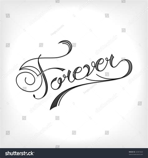 forever tattoo artistic font stock vector 42401023