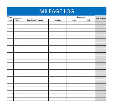 13 Sle Mileage Log Templates To Download Sle Templates Fuel Mileage Log Template