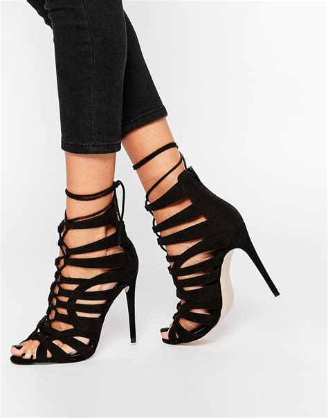 lace up sandal heels lyst asos wide fit lace up heeled shoes in black