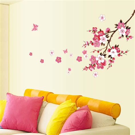 Removable Wall Stickers Uk belle peach blossom fleurs amovible mur sticke art