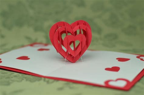 twisting hearts pop up card template home creative pop up cards