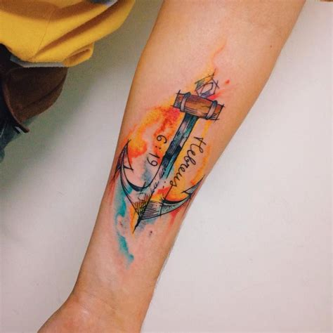 watercolor anchor tattoo anchor watercolor by felipe bernardes c