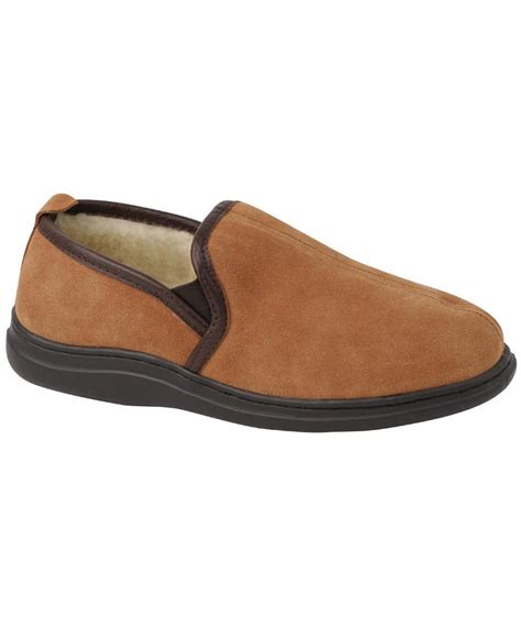 lb s slippers l b klondike memory foam suede slippers in brown