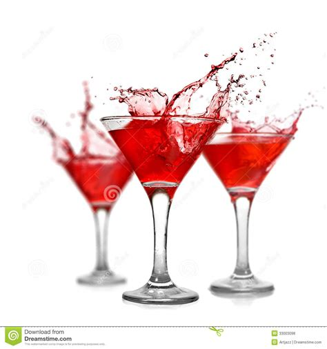 red cocktails red cocktails with splash on white royalty free stock