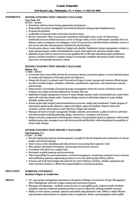 Senior It Project Manager Resume by Senior Construction Project Manager Resume Sles