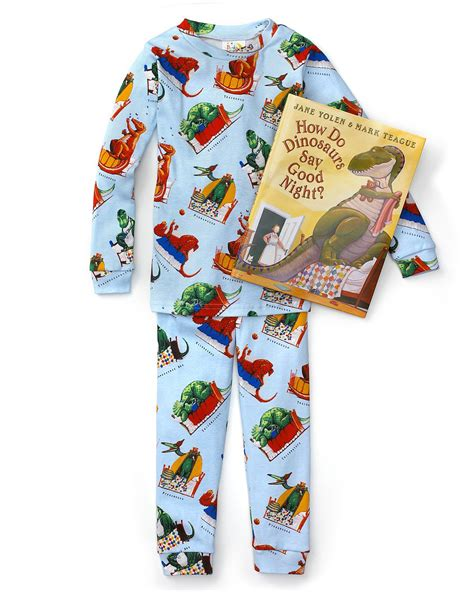 books to bed books to bed boys quot how do dinosaurs say goodnight quot book and pajama set sizes 2t 7