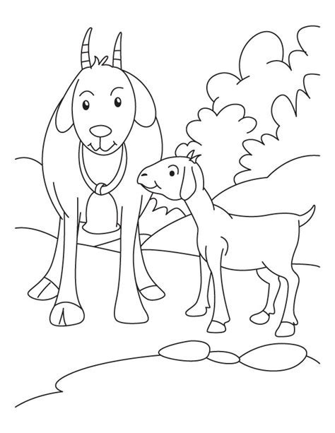 Kid With Mother Goat Coloring Pages Download Free