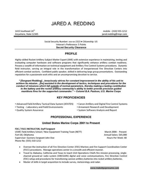 sle resume to civilian resume exles for civilian to