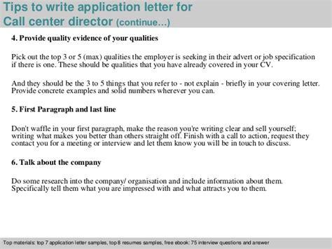 Application Letter Center Focused Call Center Director Application Letter
