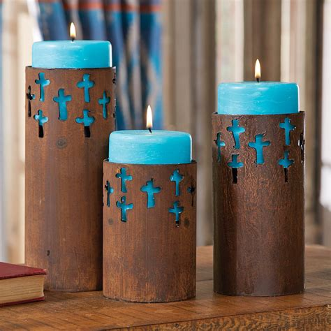 Rustic Candle Holders by Rustic Cross Candle Holders With Turquoise Candles Set Of 3