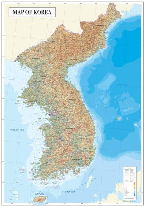 korea physical map large detailed physical map of and south korea