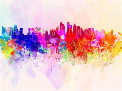 Cityscape Wall Murals doha skyline in watercolor background stock photo