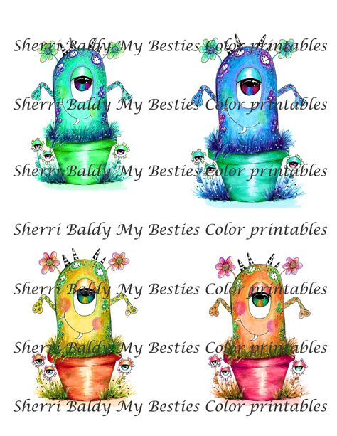 sherri baldy my besties adorable lil monsters coloring book 2 books instant dwonload my besties adorable monsters tm