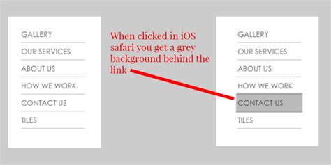 css remove grey background on link clicked in ios safari