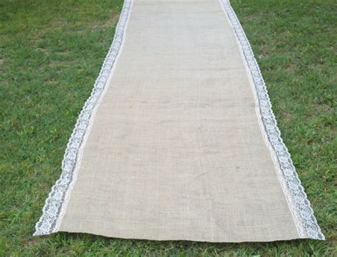 Wedding Aisle Lace Runner by 20 Ft Wedding Burlap Aisle Runner With Lace