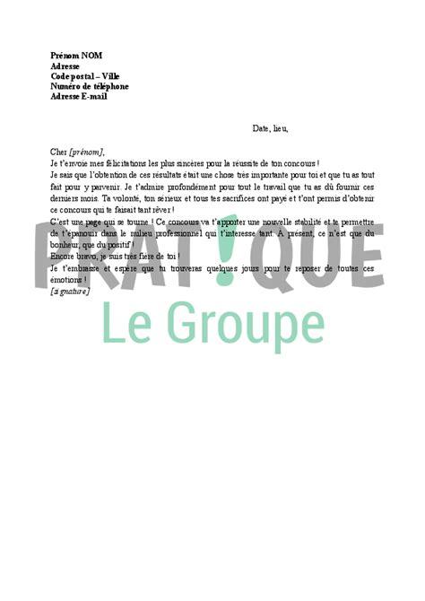 Exemple De Lettre Gagnant D Un Concours Lettre De F 233 Licitations R 233 Ussite D Un Concours Pratique Fr