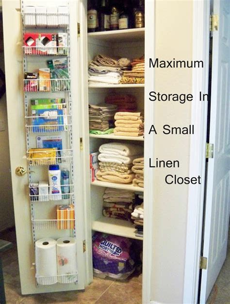 shallow linen closet organization storage ideas pinterest a stroll thru life maximum storage in a small linen closet