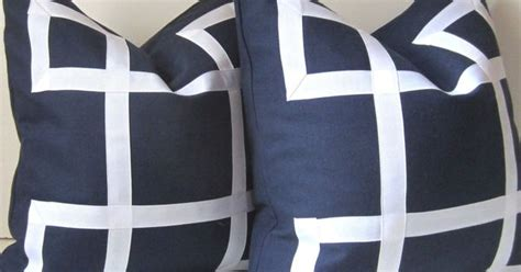 Ready Set Melvani Mocca Navy set of two navy blue pillow covers 18 inch decorative pillows white ribbon navy and