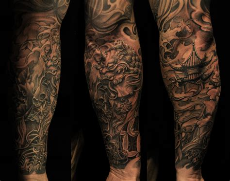 pagoda tattoo half sleeve foo and pagoda chronic ink