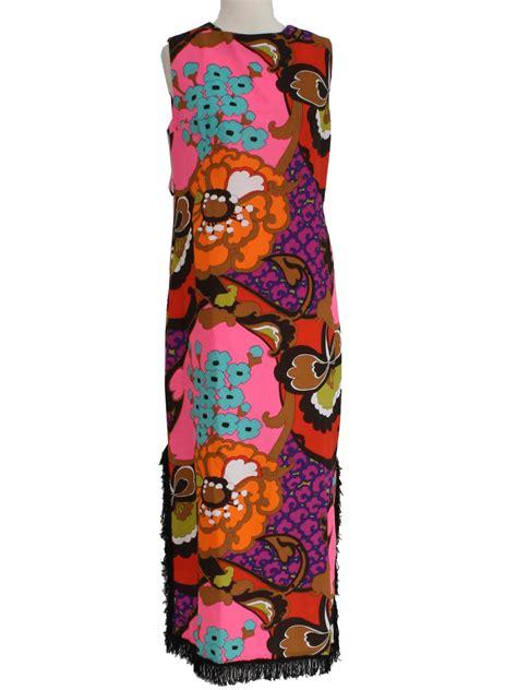 Bright Fringe Maxi Dress - 1960 s dress 60s no label womens black bright pink