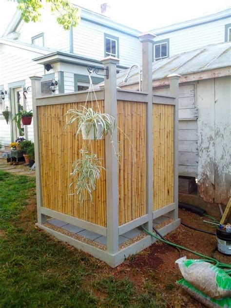 outdoor cing shower ideas diy bamboo shower outdoors diy ideas