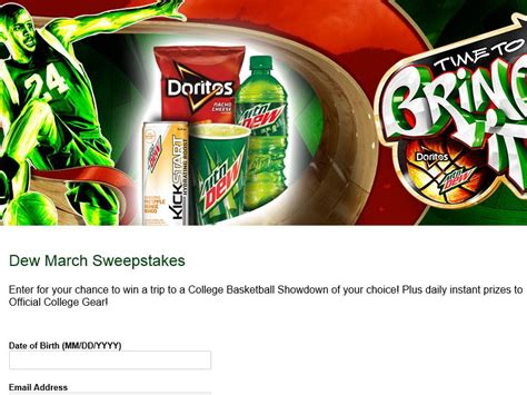 Mountain Dew Sweepstakes - mountain dew doritos quot time to bring it quot sweepstakes