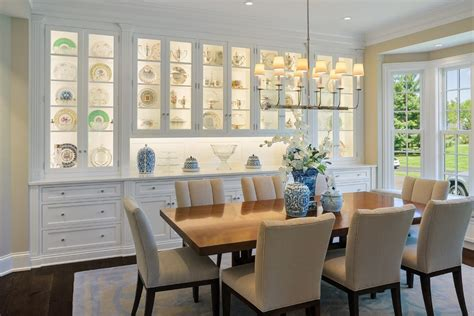 Traditional Dining Room with Built in Buffet Bay Window