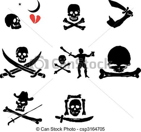 clipart bandiere set bandiere pirata set illustrazione vettore ossa