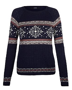womens patterned jumpers christmas snowflake patterned jumper women george at asda