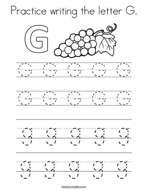 letter g worksheet coloring page practice writing the letter g coloring page twisty