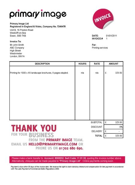 ltd company invoice template uk invoice exle