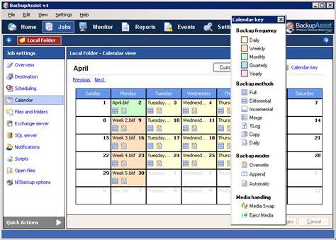 Backup Calendar Backupassist Scheduler