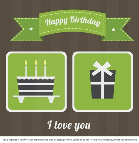 free happy birthday vector card