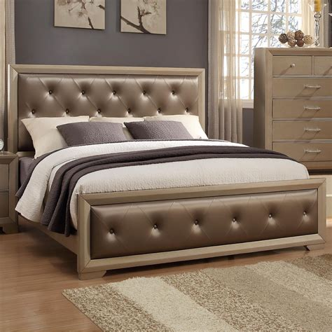 teppermans sectionals crown mark fontaine queen upholstered bed with golden
