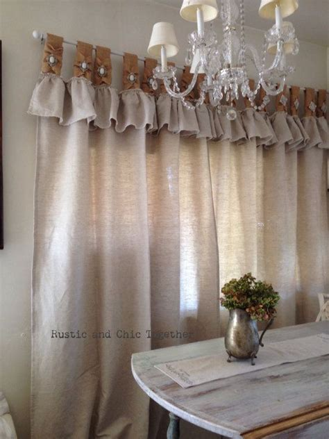 burlap linen curtains natural linen and burlap curtains with jewelry accent