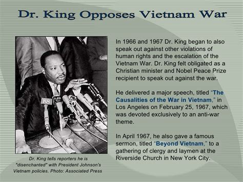 Dr King Opposes Vietnam War Martin Luther King Presentation