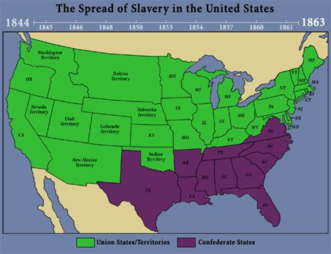 us map of and free states 1863 mrlincolnandfreedom org