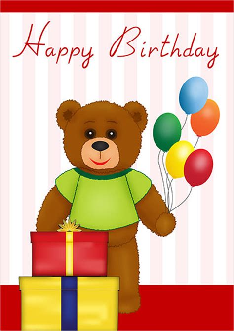 printable birthday cards teddy bear free printable birthday cards