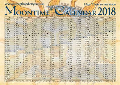 Moon Calendar 2018 Moontime Calendar 2018 Tune To The Moon Moontime Diary