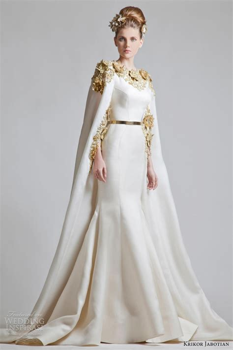 Wedding Dress With Cape by Krikor Jabotian Wedding Dresses Chapter One Collection