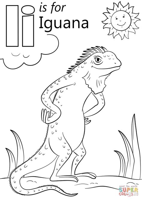 Letter I Is For Iguana Coloring Page Free Printable | letter i is for iguana coloring page free printable