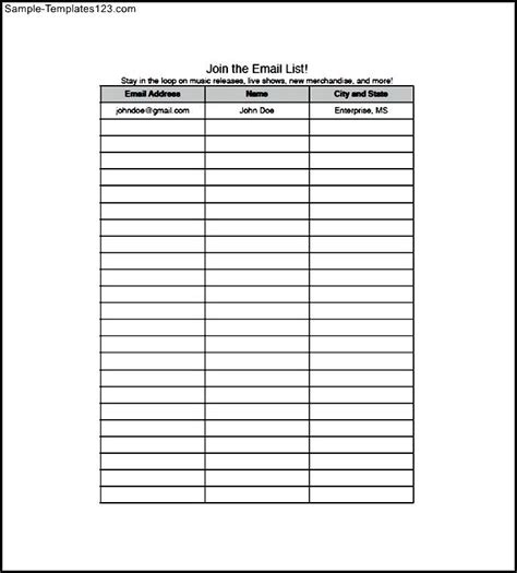 email checklist template email address list template free sle templates