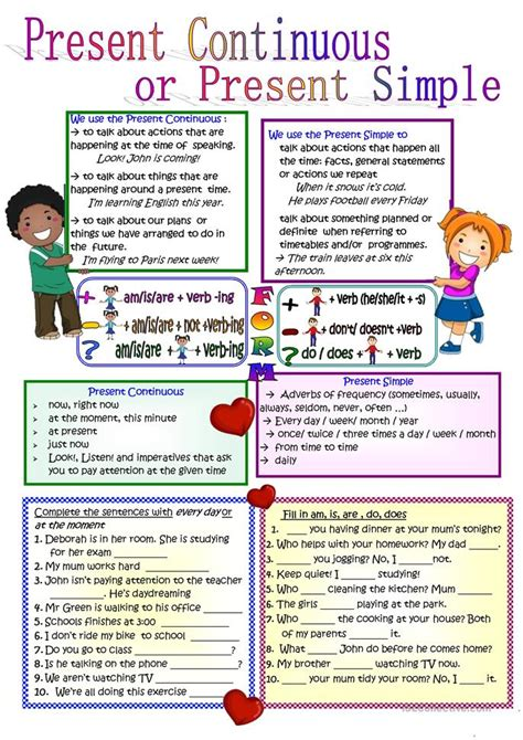 printable worksheets present simple and continuous present continuous or present simple worksheet free esl
