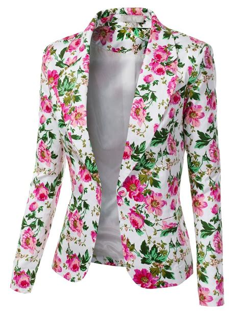 Blue Floral Boomber Printing floral print blazer womens trendy clothes