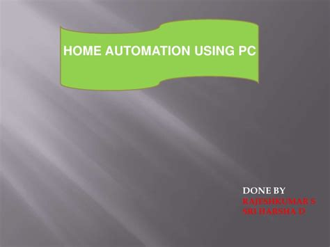 home automaton using pc ppt