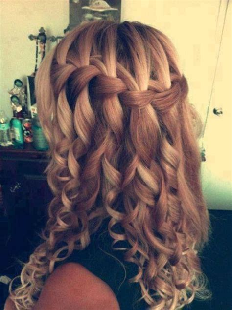 wedding hairstyles braids curls wedding hair waterfall braid and curls wedding pinterest